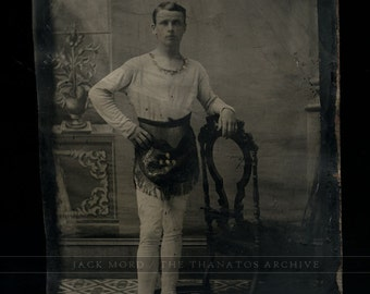 Antique Tintype Photo - Circus Acrobat Trapeze or Tightrope Walker