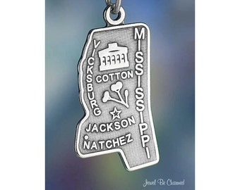 Sterling Silver Mississippi Charm State America USA Jackson Solid .925