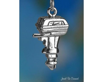 Sterling Silver Outboard Motor Charm Boat Engine Boating 3D Solid .925