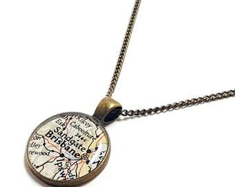 SALE - Brisbane, Australia 1947 Map Necklace. Map Pendant. Map Jewelry. Brisbane Map Pendant. Australia Travel Jewellery. Gifts.