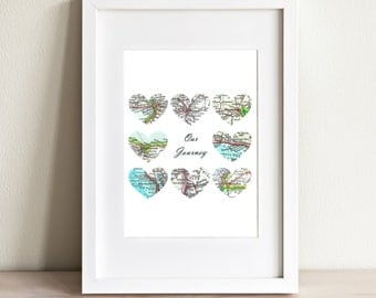 CUSTOM Eight Heart Map Art Print. Print Only. You Select 8 Cities Worldwide And Your Personaized Text. Journey Print. Wedding Gifts.
