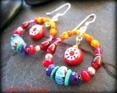 African Hoops, Beaded Ethnic Hoop Earrings, Amethyst, Red Coral, Genuine Turquoise, Afrocentric Earrings, Tribal African Jewelry