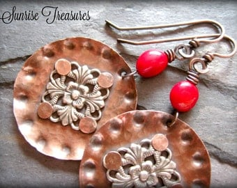 Red Coral Earrings, Rustic Copper Earrings, Copper Jewelry, Artisan Handmade Round Metal Drop Earrings, 7th Anniversary Gift for Her