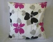 "BIG 20"" Pillow Cover Euro Sham Fuschia Pink Black Grey Floral Designer Cotton Cushion Cover.Pillowcase Sham Slip"
