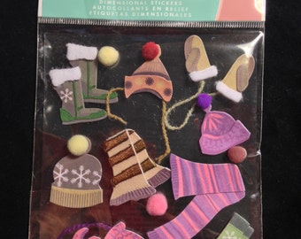 Jolee's Boutique --  Hats and Scarves   -- 12 pieces  --  dimensional stickers -- NEW   (#1482)