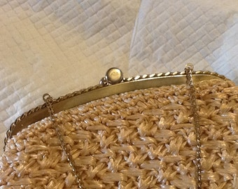 Vintage Rafia Purse With Gold Hardware Floral Interior