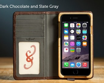 The Luxury Pocket Book case for iPhone 7 - Dark Chocolate and Slate Gray