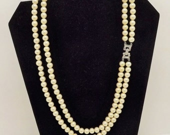 Summer Sale Vintage Double Strand Marvella Pearl Necklace with Rhinestone Clasp~Marvella Jewelry~1950's Pearl Jewelry