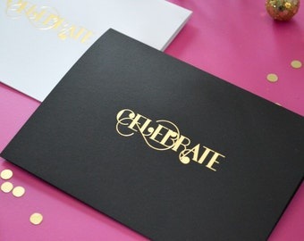 Foil Stamped Celebrate card with Envelope, 1 CT. Gold, Modern Typography