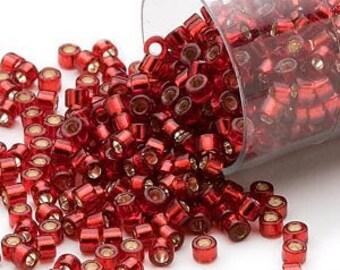 Miyuki Delica #603 Silver Lined Dark Red 11/0 in 1, 5 or 10 gram package