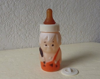 Flintstones Bamm Bamm Baby Bottle Plastic, 1977 EVENFLO Hanna-Barbera Collectible