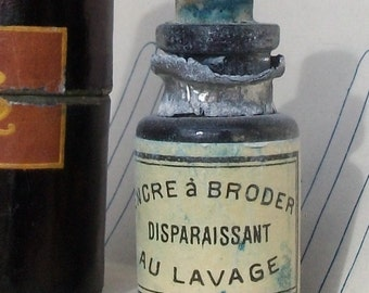 Antique French Glass Bottle Blue Fabric Ink for Embroidery Trousseau Printing Paris