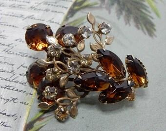 Vintage Amber Topaz Rhinestone Brooch & Earrings Set