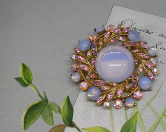 Signed ART Moonglow Cabochon & Pink Rhinestone Brooch