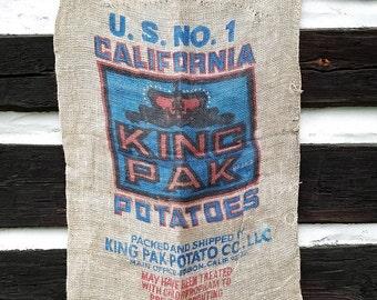 Vintage California King Pak Potato Burlap Sack; Large Industrial Farm Bag, Rustic Farmhouse Decor