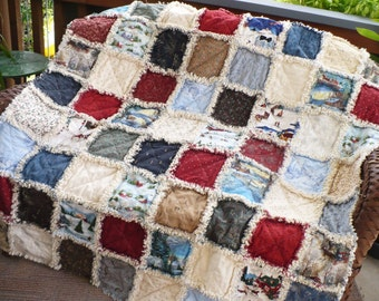 Christmas Rag Quilt- Currier and Ives Town Square Snowy Villages Sleigh Rides Ice Skaters Lap Throw-Picnic Quilt ~Ready to Ship