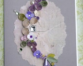 Quilled All Occasion Card - Purples and Cream om Music and Gray Brackround