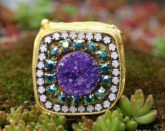 ON SALE GORGEOUS Candy Purple Druzy with Swarovski Crystals Gold Plated Ring