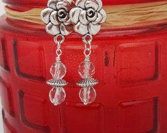 Clear Quartz Earrings, Elegant Floral Earrings, Gemstone Earrings