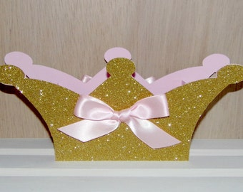 Gift Box, Large Pink and Gold Crown Shaped Box, Centerpiece