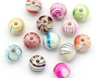 300 pcs Acrylic Glossy Marble Round Gumball Bubble Gum Striped AB Beads, 8mm - Assortment of Colors - 1.5mm Hole Size