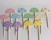 12 Umbrella baby shower umbrella Pastel umbrella Cupcake Toppers