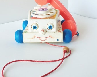 ON SALE Vintage, Fisher Price, Chatter Telephone, Vintage Fisher Price Telephone