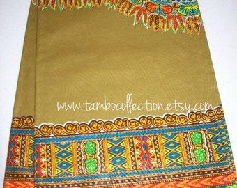 Olive Green dashiki fabric per panel 2 yards by 47 inches wide/ Angelina fabric/ Dashiki Skirt/African fabrics /dashiki dress/ Dashiki shirt