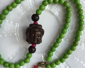 Hand-Carved Buddha Necklace in Green