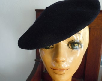 Vintage Black Wool Bakarra Authentic French Beret