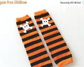 ON SALE Leg Warmers - Orange and Black Stripe Halloween