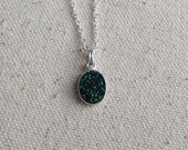 "Natural green druzy charm necklace / 18"" sterling silver chain / 8x10mm charm silver plated bezel / FREE gift wrapping"