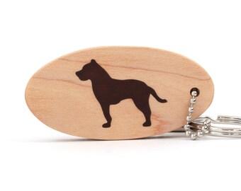American Pit Bull Terrier Dog Key Chain, Wood Dog Breed Key Ring, Pit Bull Key Fob, Pit Bull Accessories, Walnut