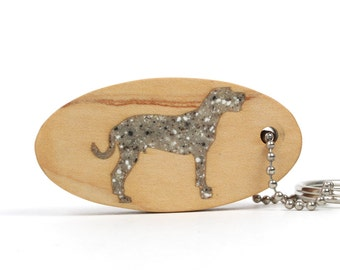 CLEARANCE: Cur Dog Key Chain, Wood Scroll Saw Dog Breed Key Ring, Wooden Pet Fob, Tree Hound Dog Key Chain, Brown Granite