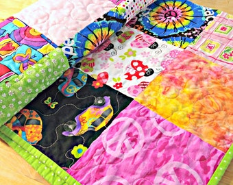 Baby Girl Quilt, Crib Quilt, Hippie Quilt, Peace Sign quilt, Hippie Baby Bedding, VW quilt, Stroller Quilt, Pink and green quilt, patchwork