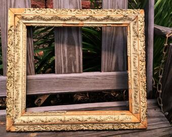 Vintage Ornate Wooden Frame Gesso Super Shabby Antique