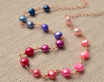 Real Pearl Necklace, Rose Gold Filled Sterling Silver, Pink Magenta Purple Blue, Genuine Freshwater Pearls, Colorful Jewelry, Free Shipping