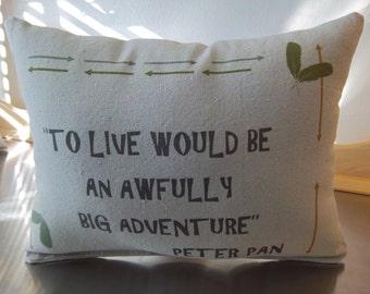 Lumbar pillow Peter Pan throw pillow canvas cushion adventure nursery decor new baby gift popular gift soft pillow accent toddler decor