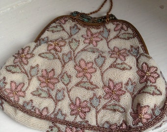 1950's French Retro Beaded Handbag with Pink and Blue Floral Design and Chain Handle