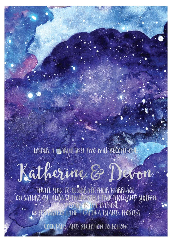 star  night sky wedding invitations starry