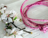 Spring bohemian necklace, pink fabric necklace, long necklace, silk jewelry