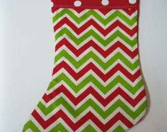 Chevront and Polka Dots Christmas Stocking Made and Ready to Ship