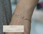 Custom Handwriting Bracelet, Memorial Signature Bracelet, Sterling Silver, Rose Gold, Keepsake, Memorial Jewelry, Actual Writing Bracelet
