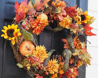Harvest grapevine wreath chrysanthemum autumn berries