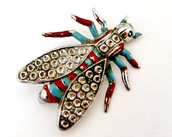 French white metal faux marcasite cold painted bug brooch
