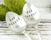 His and Her Coffee Spoons. Stamped Vintage Silver Plated Teaspoons. Romantic Gift Idea. Coffee Lover. Personalized Couples Gift. 509SP