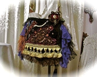 Large Bohemian Bag, thick upholstery fabrics, crossover body strap, beads buttons tassel fringe embellished