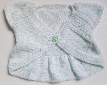 Baby Gift - Knitted Baby Clothes- Handmade Knitted  Cardigan & Headband - Girls Shrug Style Sweater - 3-6 Months Baby Gift - Ready to Ship