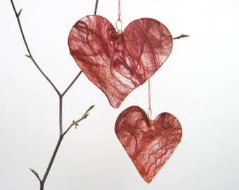 Silk Heart Hanging Decoration in ruby red, Valentine gift, anniversary or engagement gift