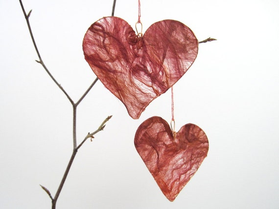 Silk Heart Hanging Decoration in ruby red anniversary engagement gift Christmas decoration